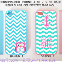 Personalized Mint Blue Pink Chevron Anchor Owl Case - Case For iPhone 4 4S / 5