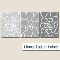 GRAY Ombre Wall Art CANVAS or Prints Bedroom Artwork Bathroom Pictures Choose Colors Large Flower Burst Succulent Petals Home Decor Set of 3