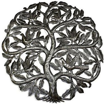 Handmade Tree of Life Birds Ready to Fly Metal Wall Hanging Art Decor 24-inch Diameter