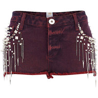 Red studded chain denim shorts - denim shorts - shorts - women