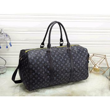 LV Louis Vuitton Trending Women Stylish Monogram Leather Zipper Luggage Travel Bags Tote Handbag Black I-MYJSY-BB