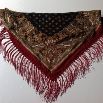 Black square Fringe Shawl, Black Paisley scarf, Crochet trim fringe, Gift for mom, Burgundy head-covering, Russian scarf, Cancer Scarf