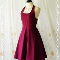 My Lady IV - Maroon Halter Dress Maroon Red Party Dress Maroon Bridesmaid Dress Spring Summer Sundress Vintage Design Red Day Dress XS-XL