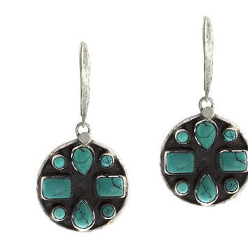 Gorgeous Dangling Oxidized Circle Earrings with Turquoise Stones Accents