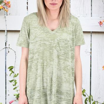 Heathered V-neck Pocket Top {Olive}