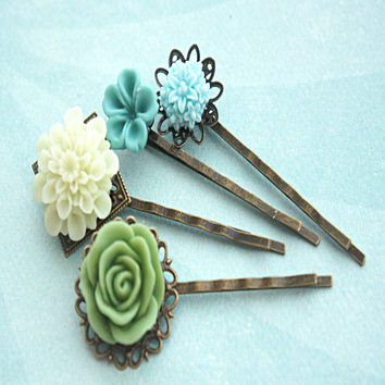 shades of green flower hair clips
