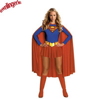 New Design Adult Sexy Cosplay Superwoman Costumes Halloween Supergirl Chemise Femme Costume Kits Drop Shipping 2015