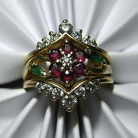 14k Diamond Ruby and Emerald Ring Flower Motif 7.4g SZ 9.75