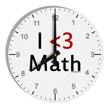 "I Heart Math 8"" Round Wall Clock with Numbers by TooLoud"
