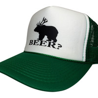 New Distressed Beer Bear Snapback Cap Funny Hat Trucker Mesh