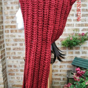 Hooded Scarf, Red Scarf, Hooded Cowl, Scarf With Hood, Womens Scarf, Winter Scarf, Winter Hooded Cowl