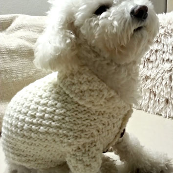 Dog Sweater, Knitted dog clothes, Off-white Dog Sweater, Dog Jacket, Pet Clothing, Dog Top, Dog Apparel, Dog Fashion, Hand knit sweater