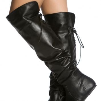 Black Faux Leather Knee High Slouch Boots @ Cicihot Boots Catalog:women's winter boots,leather thigh high boots,black platform knee high boots,over the knee boots,Go Go boots,cowgirl boots,gladiator boots,womens dress boots,skirt boots.