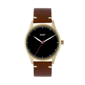 Miró Watches — Black Face Chocolate Strap — Gold