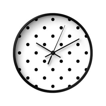 2 Black and White Color Options Polka Dots Wall Clock, Decorative Wall Clock, Wall Clock Vintage, Wall Clock Modern, Wood Clock, Home Decor