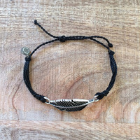 The Girl and The Water - Pura Vida - Silver Feather Bracelet in Black - $20