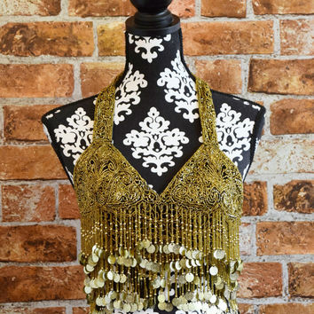 Vintage Glass Beaded Shingle Halter Bra Top