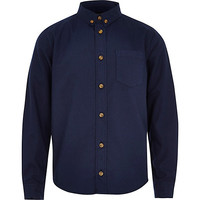 River Island Boys navy button down Oxford shirt