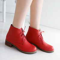 Lace Up PU Leather Ankle Boots Square Heel Shoes Woman 3317 3317