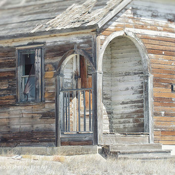 Rustic Wood Door Photography, Wall Art Print, Home Decor, Old Abandoned Schoolhouse |'Front Steps'