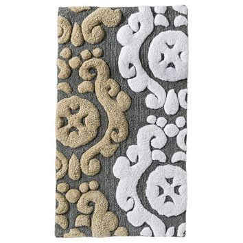"Threshold™ Scroll Bath Rug - Gray (20x34"")"