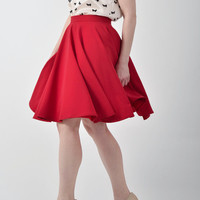Red circle skirt, full skirt