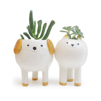 Cute Cat Planter / Desktop Planter / White Pottery Plant pot