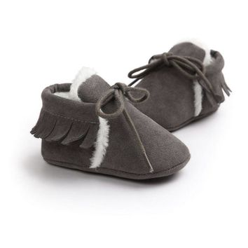 Baby Boy Girl Moccasins Moccs Shoes PU Suede Leather Newborn First Walkers Bebe Fringe Soft Soled Non-slip Footwear Crib Shoes