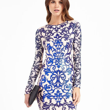 White Jacquard Print Long Sleeve Mini Dress