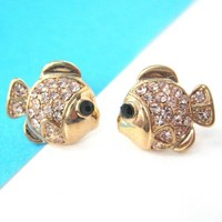 Small Nemo Fish Sea Animal Stud Earrings in Gold with Rhinestones