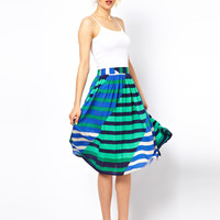 ASOS Midi Skirt in Multi Coloured Stripe
