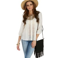Sale-white Relaxed Peasant Blouse