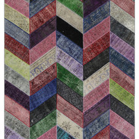 Mixed Berry Colors Rug Patchwork Vintage Turkish 10'x7'