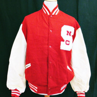 Vintage 1970s VARSITY Baseball Red White Jacket Heavy Wool / Leather XL