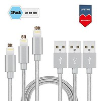 iPhone Cable charger-3 Pack (3ft 6ft 10ft) Elktry High Speed Braided Charger Cord Line Fast Sync Data Cable Tangle-Free for iPhone6 6s 6plus 6splus 7 7plus SE 5s 5c 5 iPad Pro Air iPod (Classic Gray)