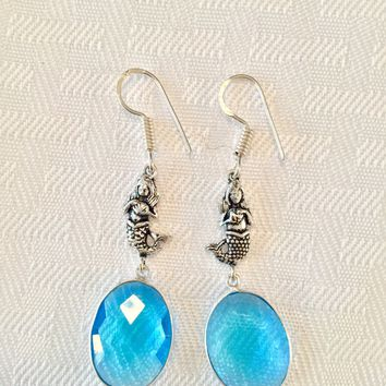 Mermaid blue quartz sterling silver earrings