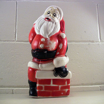 SOLD!  Vintage Christmas Decor Plastic Blow Mold Santa Claus