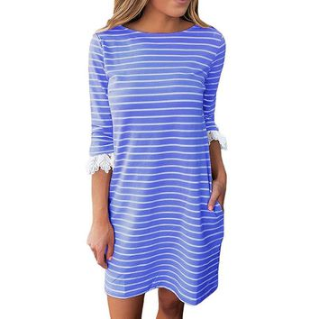 2018 Spring Summer Striped Women Mini Dress Casual Penicl Half Sleeve Roupa Tunic Dresses Lace Patchwork