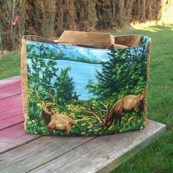 Reusable Grocery Bag Elk Tote Bag Ready to Ship Wildlife