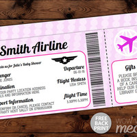 Airline Ticket Invitation Baby Shower Invite INSTANT DOWNLOAD Air Plane It's a Girl Pink Passport Fly Personalize Editable Printable Party