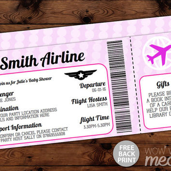 Airline Ticket Invitation Baby Shower Invite INSTANT DOWNLOAD Air Plane  Itu0027s A Girl Pink Passport Fly  Airline Ticket Invitation