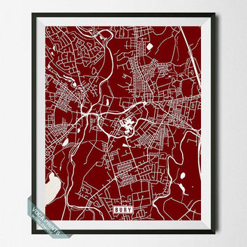 Bury Map, England Poster, Bury Poster, Bury Print, England Map, England Print, Street Map, Home Decoration, Wall Art