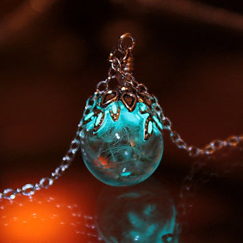 "Small Dandelion seeds Glass Bubble pendant ""GLOW in the DARK"""