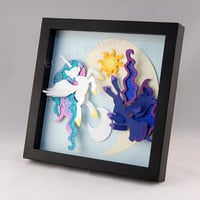 3-D MLP Princess Luna & Princess Celestia - Framed 8x8 Shadowbox Geek Paper Art My Little Pony Shadow Box