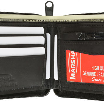 Zip Around Bifold Wallet with Card Slots and Zipped Coin Space for Men 1656 CF (C)
