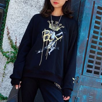 """Boy London"" Casual Crown Graffiti Unisex Multicolour All-match Fashion Letter Logo Embroidery Long Sleeve Sweater Tops"