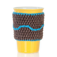Crochet cup cozy, coffee cup cozy, mug cozy, cup cozy, coffee cup sleeve, brown, turquoise, gift ideas