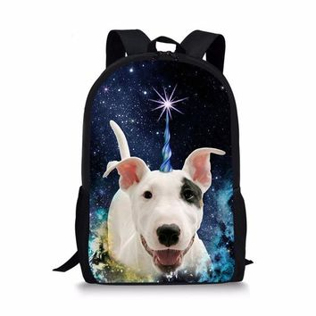 School Backpack trendy FORUDESIGNS Bull Terrier Print Children School Bags for Boys Girls Casual Large Unicorn Cat Backpacks Primary Students Satchel AT_54_4