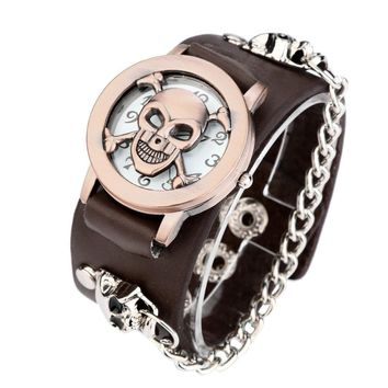 Black Punk Chain Skull Leather Watch Women Men Bracelet Cuff Gothic Watch