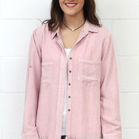 Split Back + Frayed Hem Button Down {Blush}